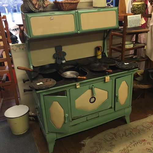 Cream and Green Enameled Wood Stove